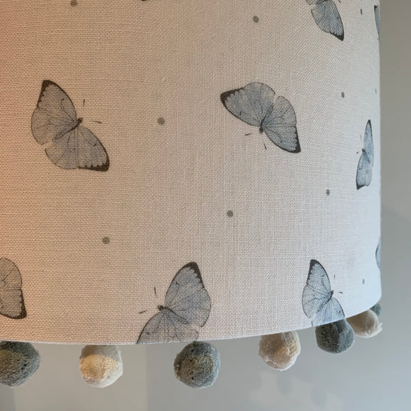 Faded Dotty Butterflies Pom Pom Lampshade
