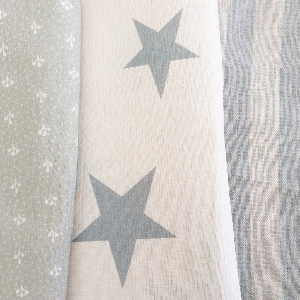 Peony & Sage Grey Summer Stripe Linen - Offcut (Fat 8th Size) - Lolly & Boo - 2