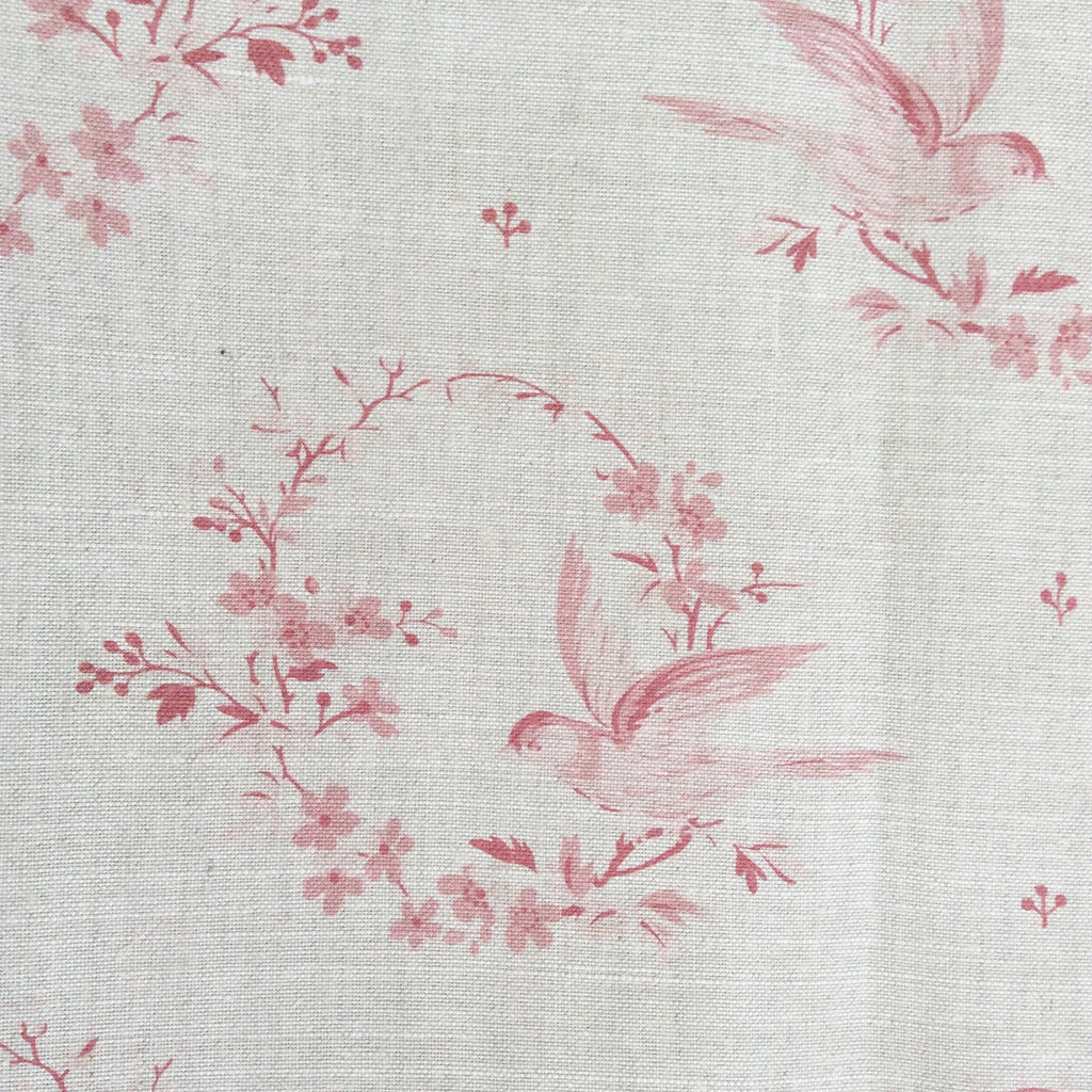 Peony & Sage Birdsong (Antique Reds) Linen - Offcut - Lolly & Boo - 1