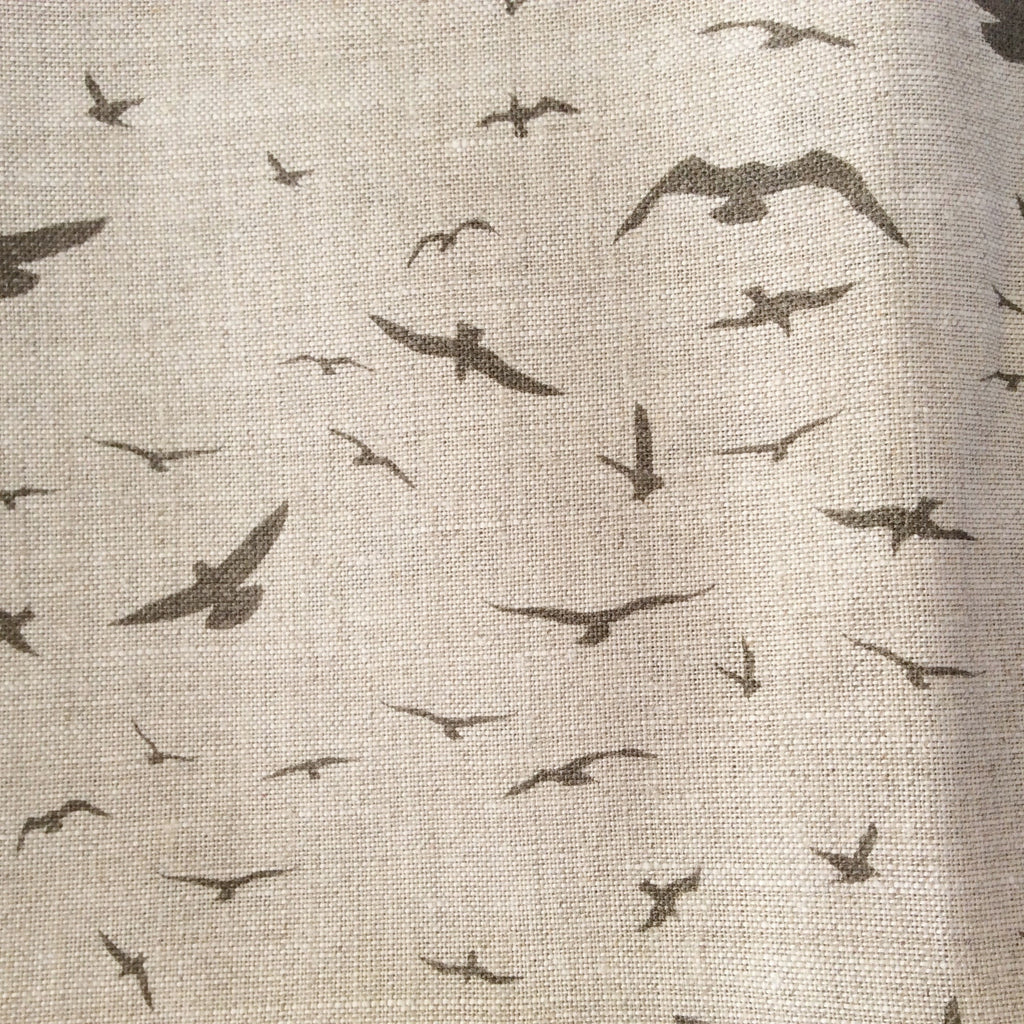 Peony & Sage Seagulls (tea) Linen - Offcut (Fat 8th size) - Lolly & Boo - 1