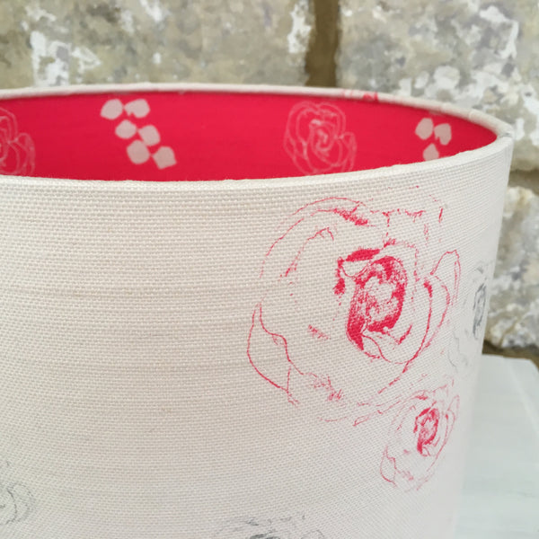 Faded Flora Linen Lampshade lined with Eucalyptus & Julio - Lolly & Boo - 2