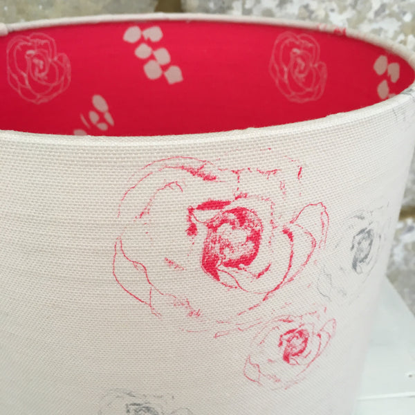 Faded Flora Linen Lampshade lined with Eucalyptus & Julio - Lolly & Boo - 1