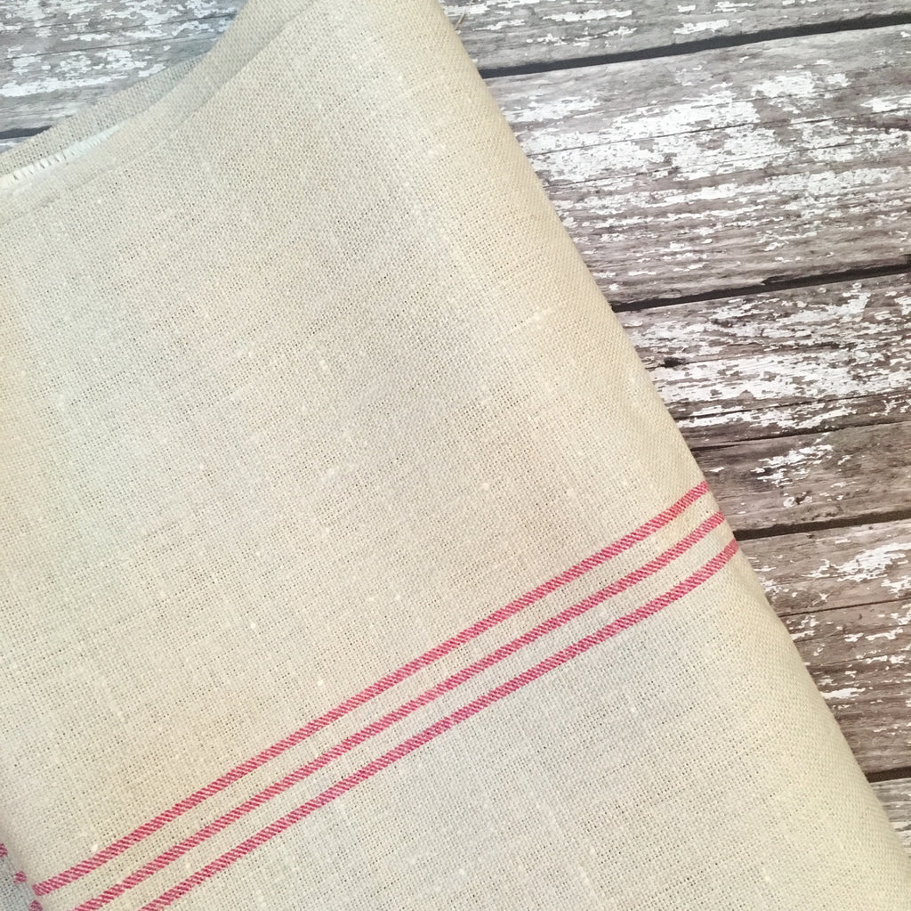 Peony & Sage Triple Stripe on Grainsack Linen - Offcut