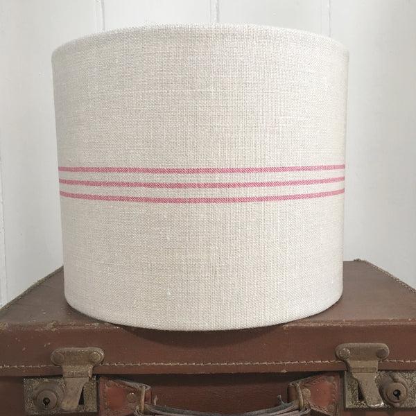 Triple Stripe in Peony Cerise on Grainsack Linen Drum Lampshade