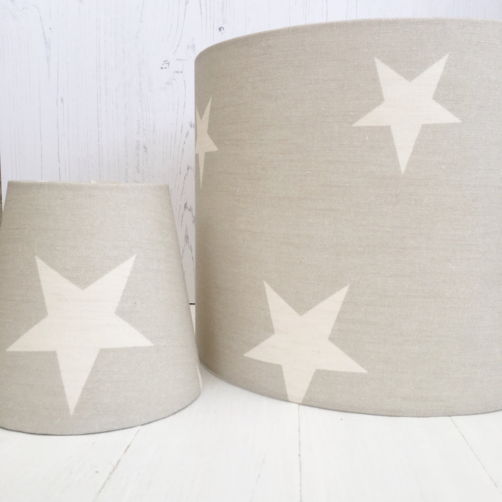 All Stars (Large Ivory Stars) on Gustavian Grey Linen Lampshade