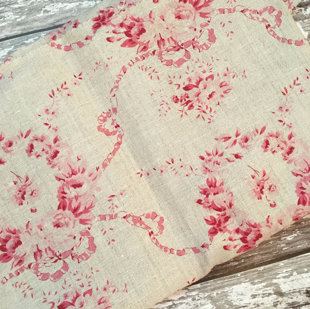 Peony & Sage Mathilde Linen (cherry on stone colourway) - offcut