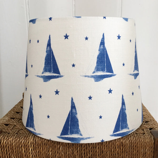 Yacht Club Deep Sea Blue Linen Lampshade - Lolly & Boo - 2