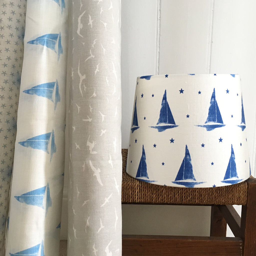 Yacht Club Deep Sea Blue Linen Lampshade - Lolly & Boo - 1