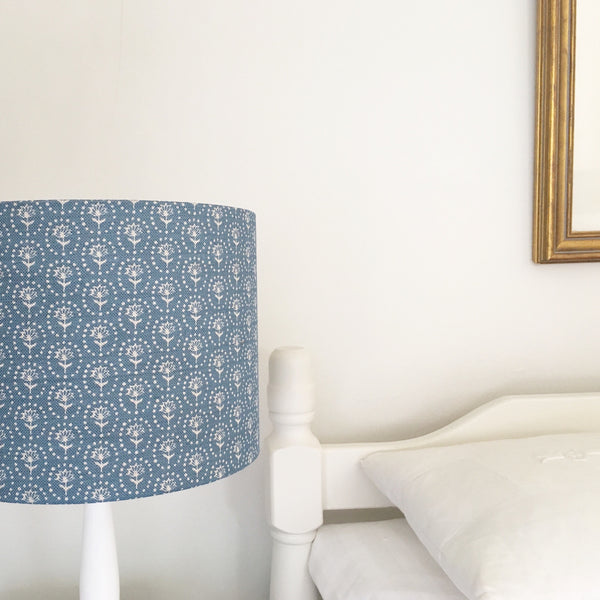 Cornish Blue Blotch Daisy Linen Lampshade - Lolly & Boo - 1