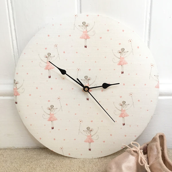 Linen Clock in Peony & Sage Mrs Mouse Loves Ballet - Lolly & Boo - 1