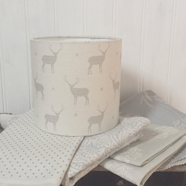 Grey Stag All Star Linen Drum Lampshade - Lolly & Boo - 1