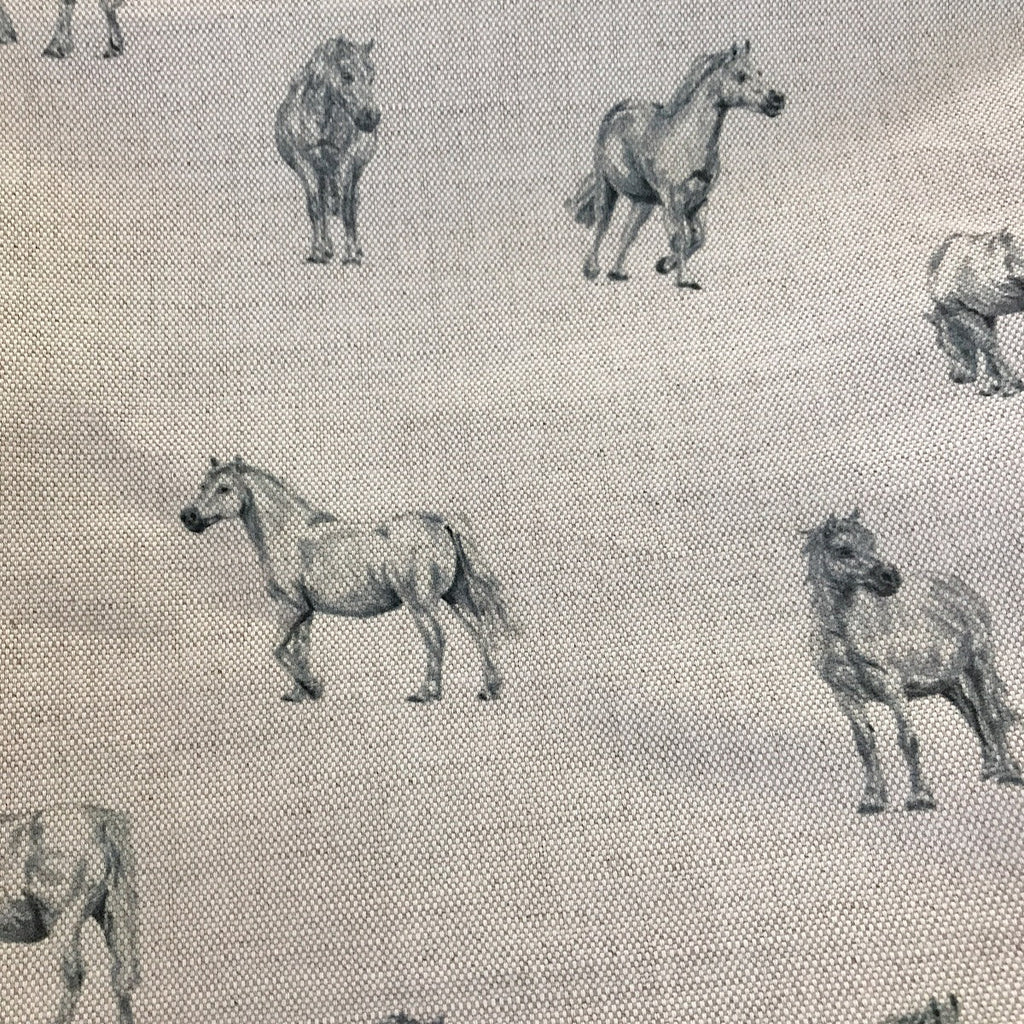 Milton & Manor Grey Ponies Linen - Offcut - last of our stock!