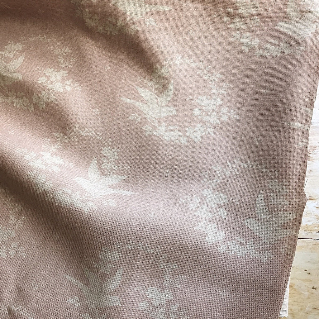 Peony & Sage Birdsong linen in faded old silk - offcut