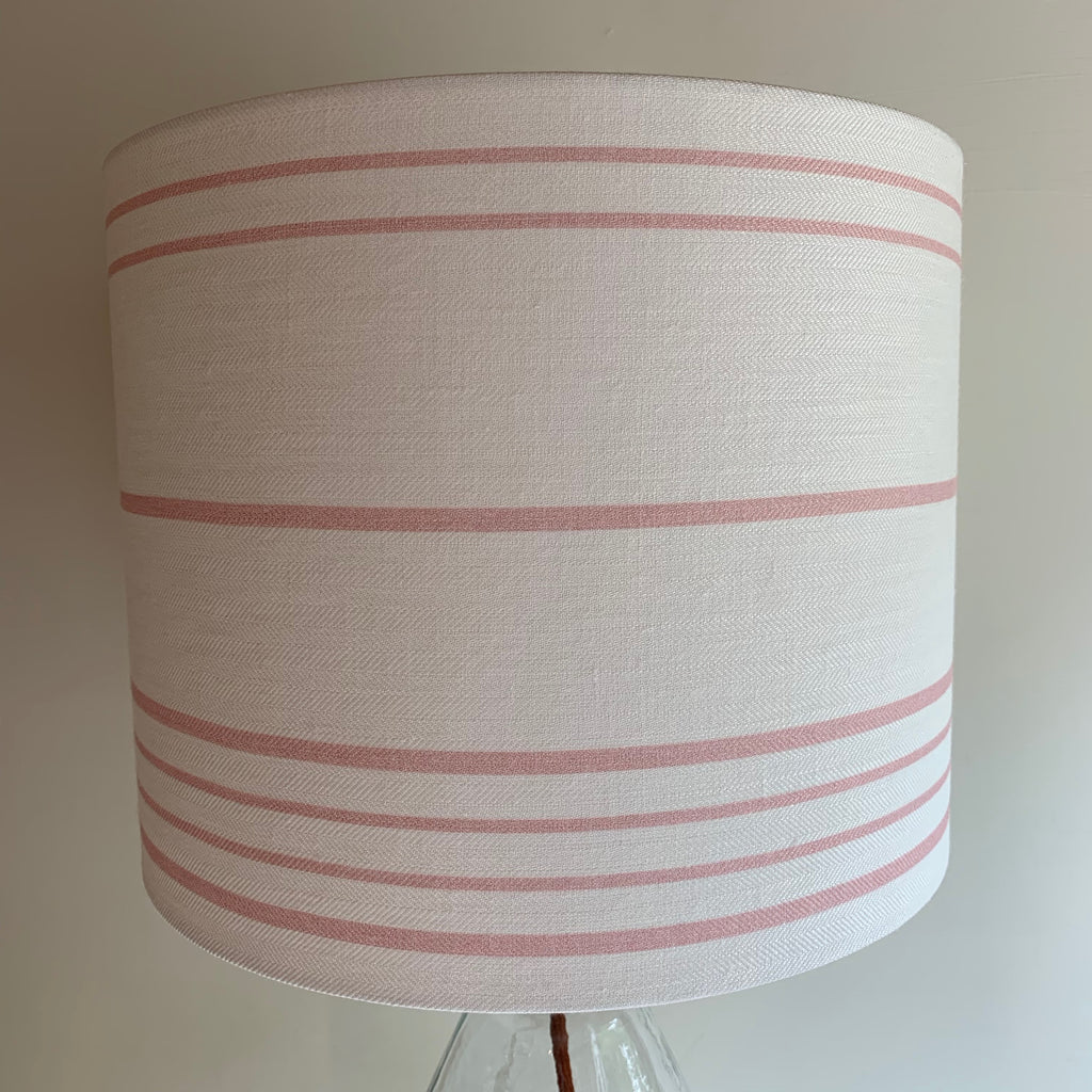 Peony and Sage French Ticking - Pink Icing on Luxurious White Herringbone Linen - offcuts