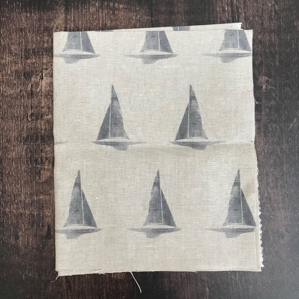 Peony & Sage Just Yachts (Dark Storm Grey on Stone) Linen Offcut
