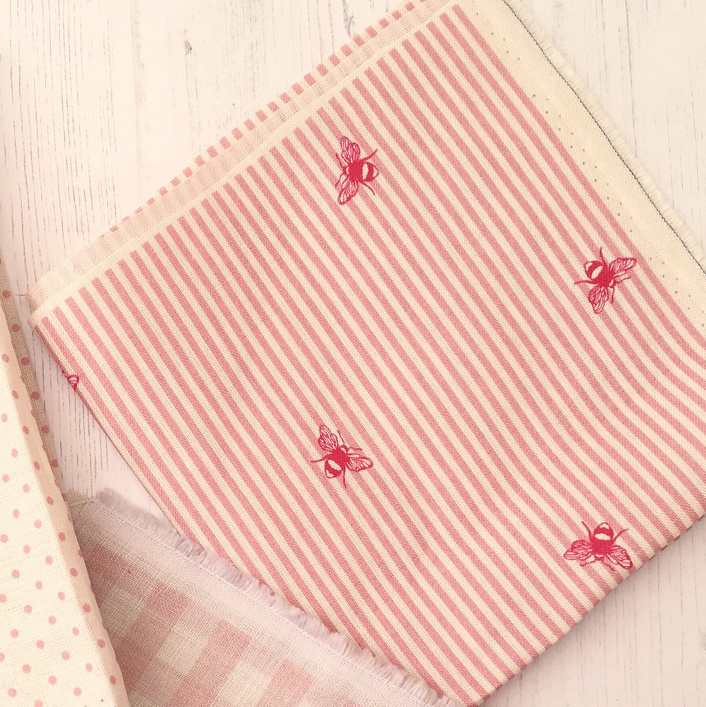 Peony & Sage Raspberry Bee Pinstripe Linen - Offcut - Lolly & Boo