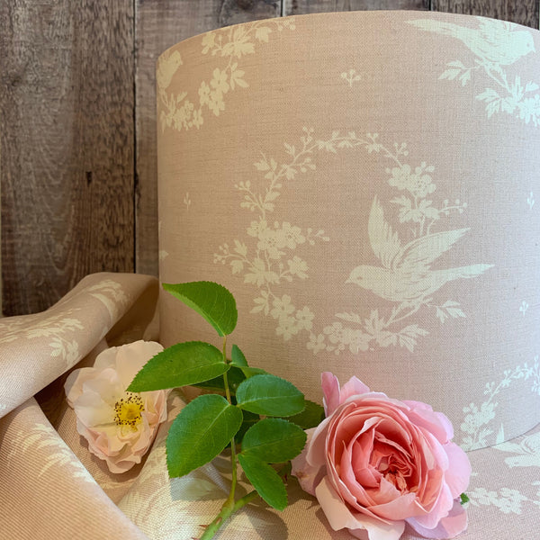 Birdsong in Pretty in Pink Linen Lampshade
