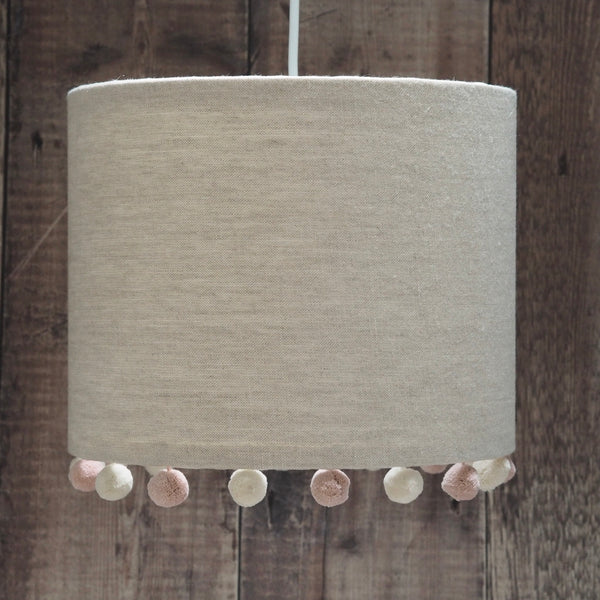 Natural Linen Pink & Ivory Pom Pom Lampshade