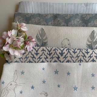 Linen Fabric Craft Pack - Gorgeous Blues Themed 2
