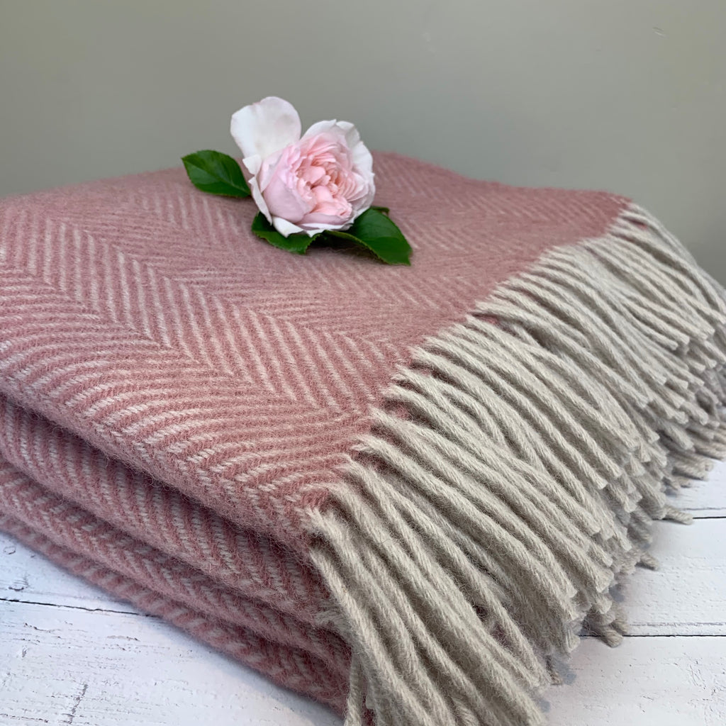 Dusky Pink and Pearl Herringbone Throw