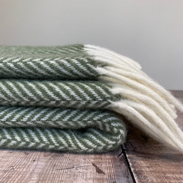 Olive Fishbone Throw