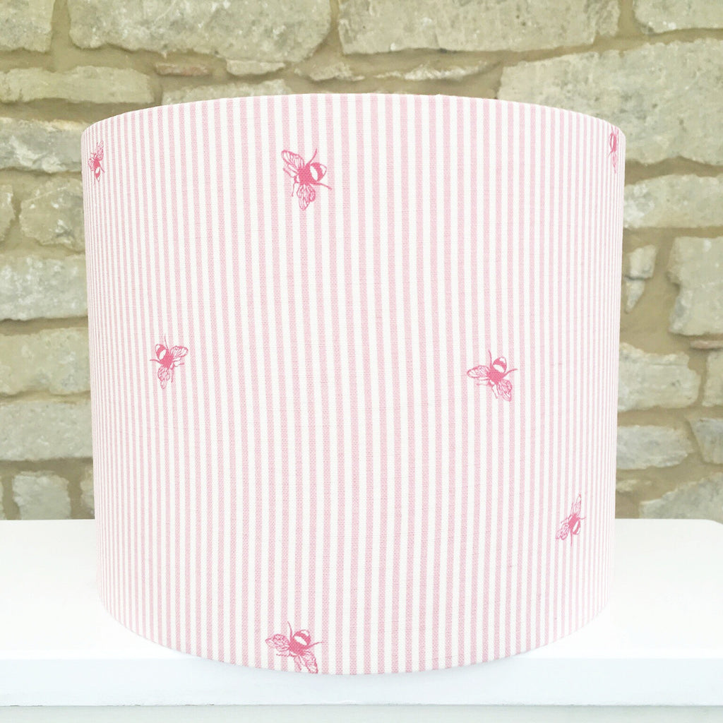 Bees Pinstripe (raspberry) Linen Lampshade - Lolly & Boo - 1