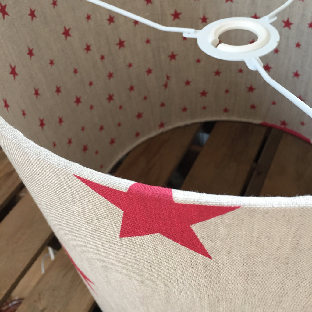 Red All Stars Linen Drum Lampshade - Lolly & Boo - 1