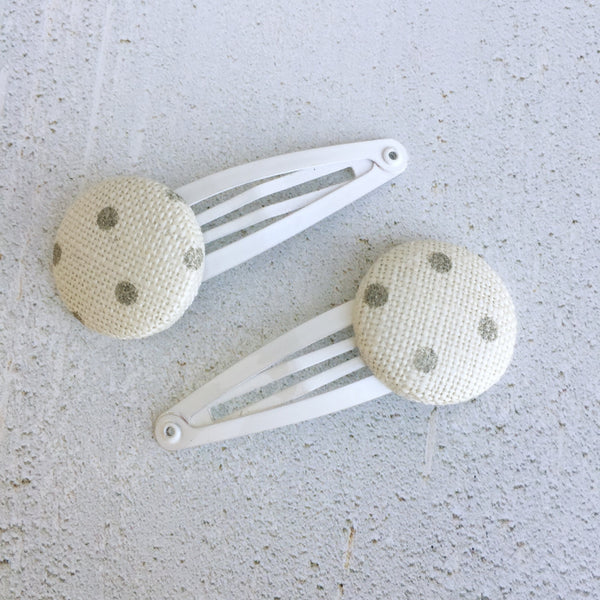 Peony & Sage Grey Dots Linen Button Hair Slide - Lolly & Boo