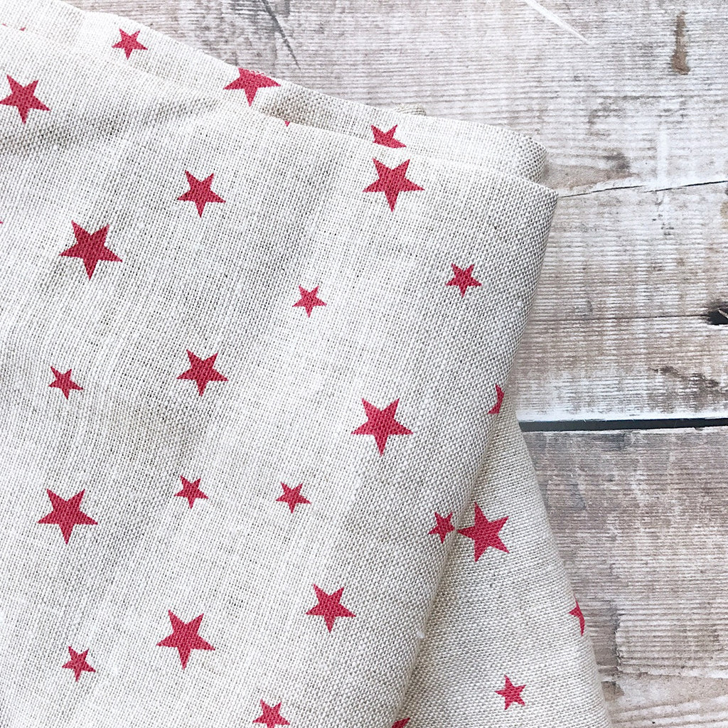 Peony & Sage Small Stars in Red on Stone Linen - Offcut