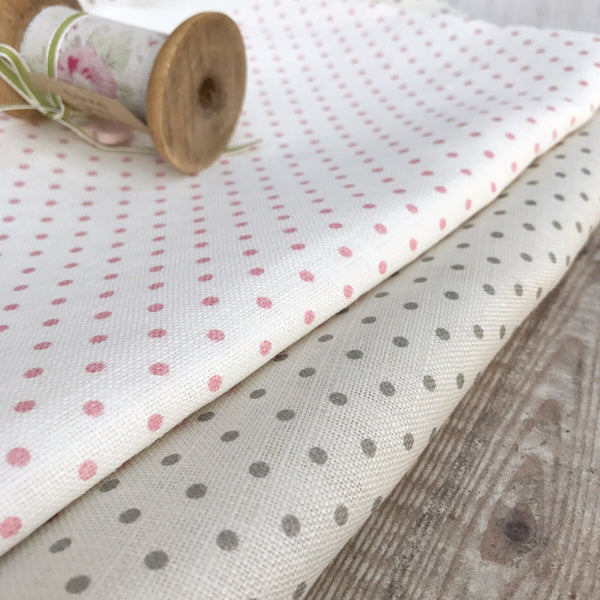 Peony & Sage Blush Pink Dots Linen - Fat Quarter