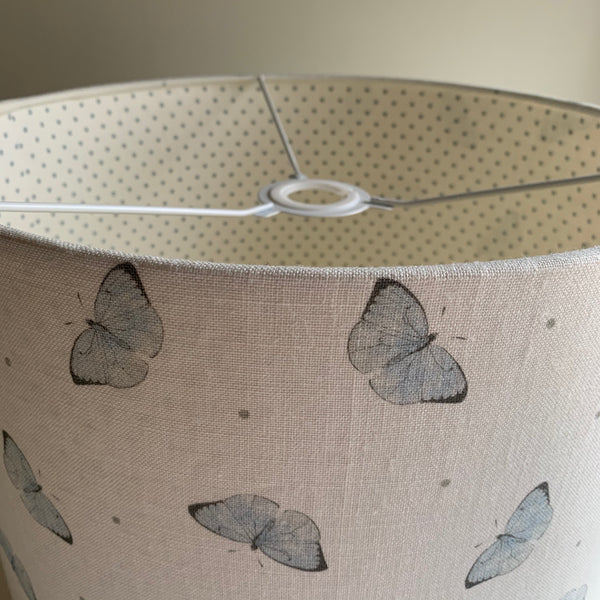 Faded Dotty Butterfly Linen Lined Lampshade