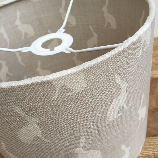 Peony & Sage Mini Hares on Gustavian Grey Linen - Offcut - Lolly & Boo