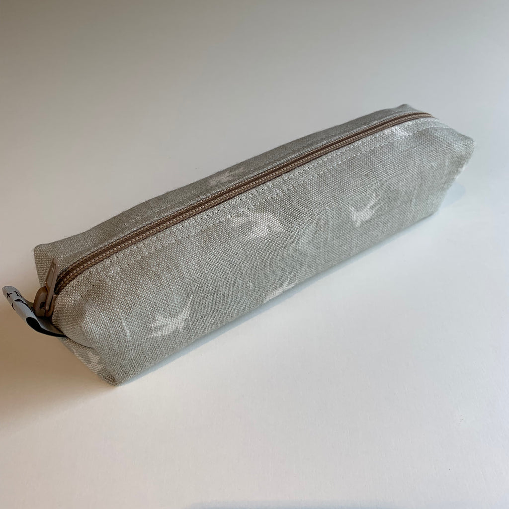 Sky Lark Linen Pencil Case - Grey