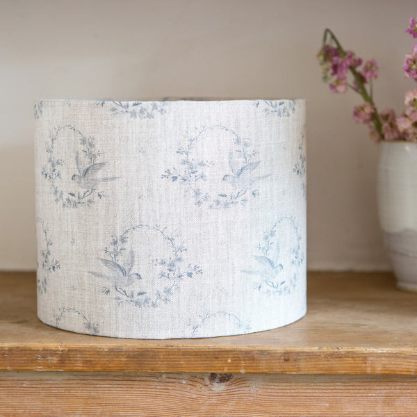 Birdsong Linen Drum Lampshade - Lolly & Boo - 1