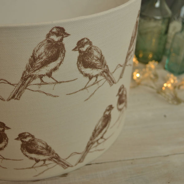 Birds Linen Drum Lampshade - Lolly & Boo - 1