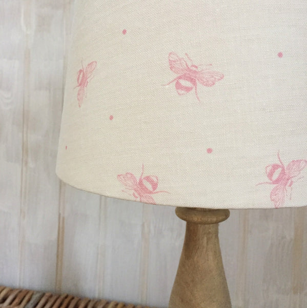 Blush Pink Busy Bees Linen Lampshade - Lolly & Boo - 1