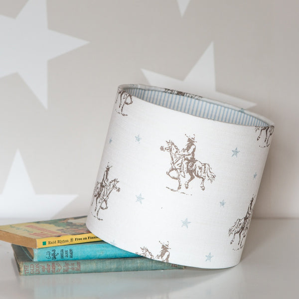 Vintage Cowboys Linen Lampshade With Skinny Stripe Lining - Lolly & Boo - 1
