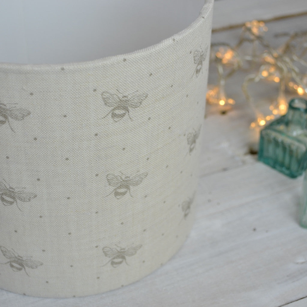 Dove Just Bees Linen Drum Lampshade - Lolly & Boo