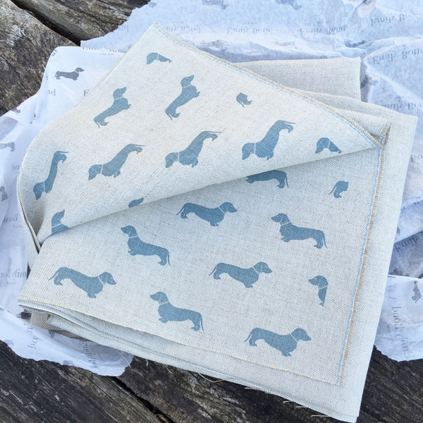 Emily Bond Blue Dachshunds Linen - Offcut (Fat 8th size) - Lolly & Boo - 1