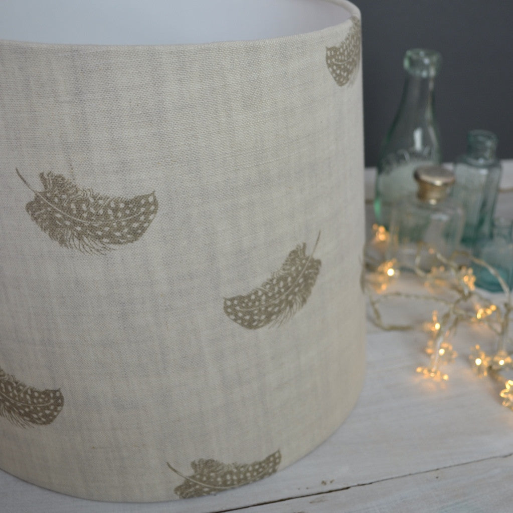 Olive Falling Feathers Linen Lampshade - Lolly & Boo - 1