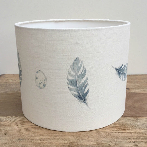 Bamburgh Feather & Egg Linen Drum Lampshade - Lolly & Boo - 1