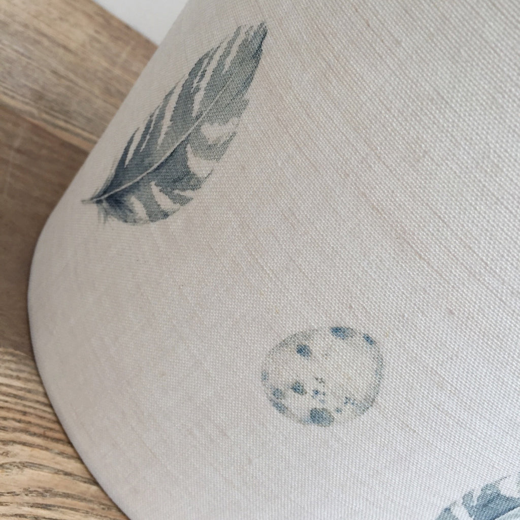 Bamburgh Feather & Egg Linen Drum Lampshade - Lolly & Boo - 2