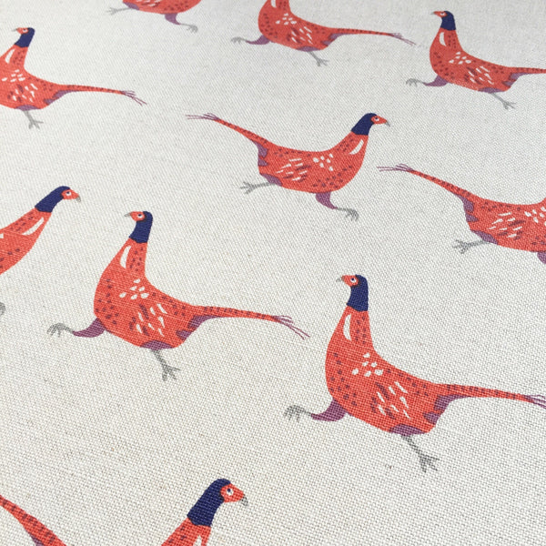 Fenella Smith Pheasants Linen - Offcut - Lolly & Boo