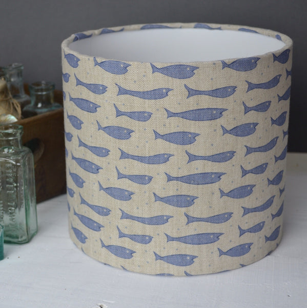 Little Fishes Linen Drum Lampshade - Lolly & Boo - 1