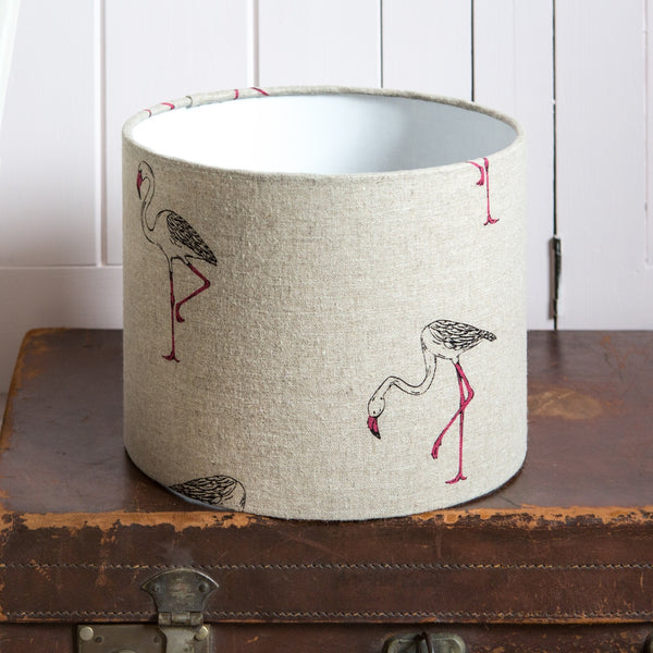 Flamingo Linen Drum Lampshade - Lolly & Boo