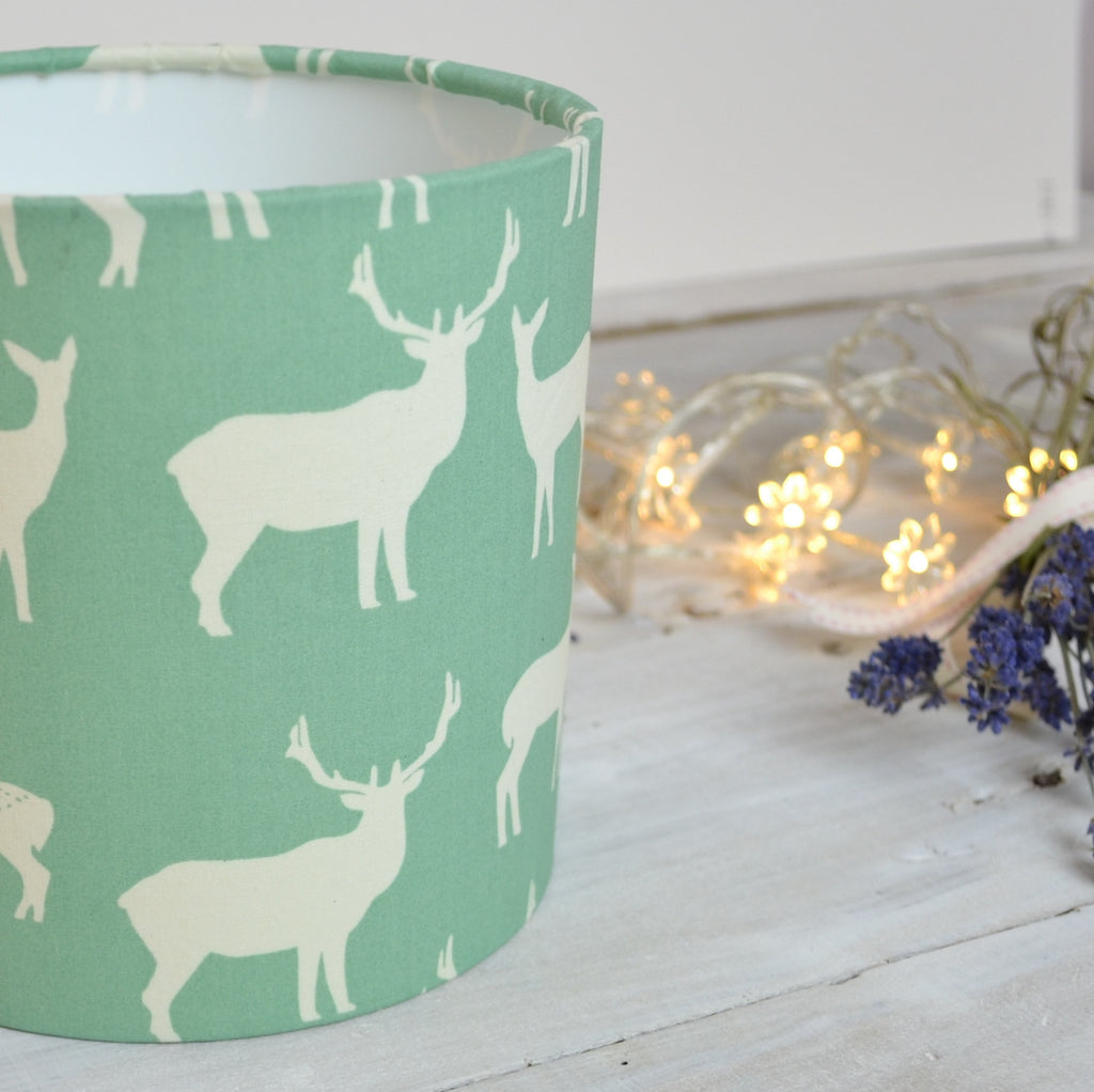 Elk Family (pale green) Drum Lampshade - Lolly & Boo - 1