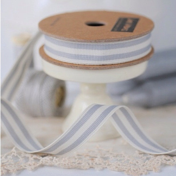 Grey & Cream Striped Ribbon - Lolly & Boo - 1