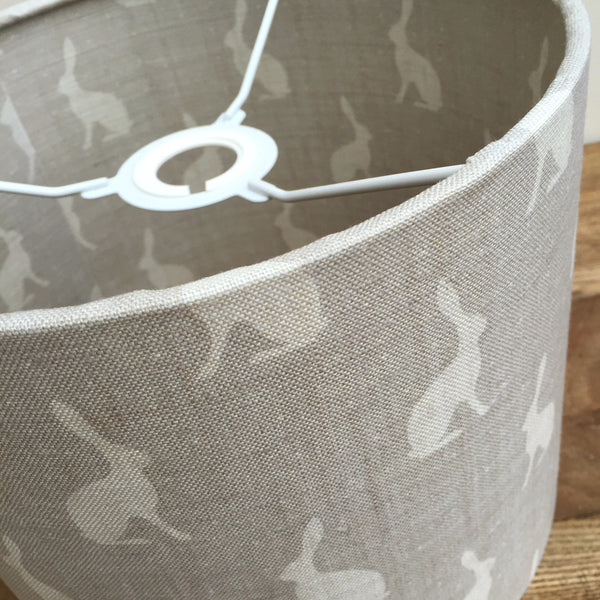 Gustavian Grey Mini Hares Linen Lined Lampshade - Lolly & Boo - 1