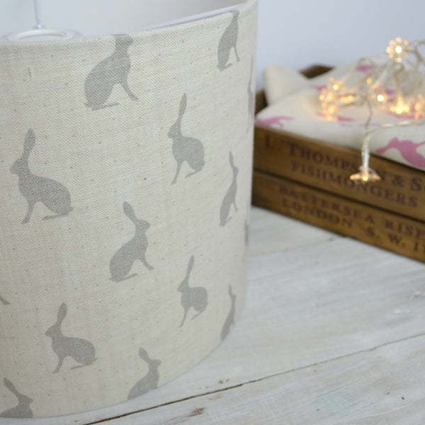 Grey Hares Linen Drum Lampshade - Lolly & Boo - 1