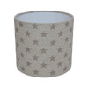 French Grey Stars Linen Drum Lampshade - Lolly & Boo - 2